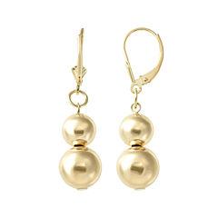 14K Gold Double Bead Drop Earrings