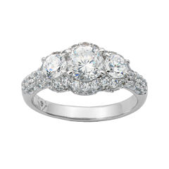100 Facets by DiamonArt® Sterling Silver 3-Stone Cubic Zirconia Cocktail Ring