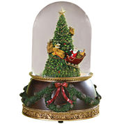 Roman Santa Flying Around Tree Snow Globe