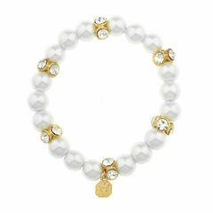Monet White And Goldtone Stretch Bracelet