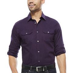 Claiborne® Slim-Fit Roll-Sleeve Shirt