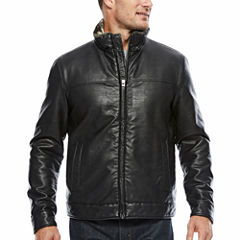 Dockers Faux Leather Stand Collar Jacket