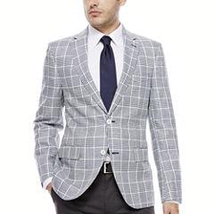 The Savile Row Company Navy White Plaid Sport Coat-Slim Fit