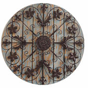 Filigree Circle On Wood Panels Wall Decor