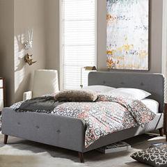 Baxton Studio Laurio Mid-Century Upholstered Platform Bed
