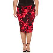 Bisou Bisou Floral Pencil Skirt Plus