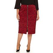Worthington® Jacquard Zip Front Pencil Skirt - Plus