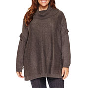 a.n.a Long Sleeve Cowl Neck Poncho-Plus