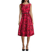 Danny & Nicole® Sleeveless Floral Belted Fit-and-Flare Dress