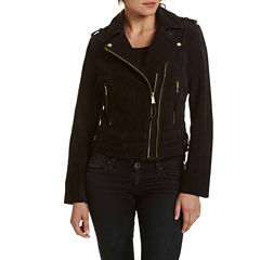 Excelled® Asymmetrical Suede Moto Jacket