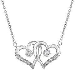 Diamond Blossom Sterling Silver Chain Necklace