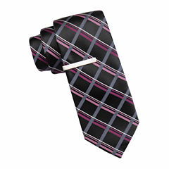 JF J. Ferrar® Atlantic Avenue Grid Tie and Tie Bar Set