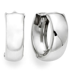 14K White Gold 12.5mm Hinged Hoop Earrings