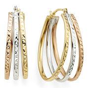 Diamond-Cut Tri-Color 14K Gold Triple-Fan Hoop Earrings
