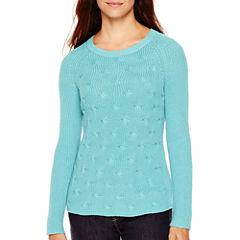 Liz Claiborne® Long-Sleeve Shaker Stitch Sweater