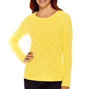 Liz Claiborne® Long-Sleeve Shaker Stitch Sweater - Tall