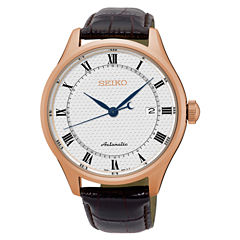 Seiko Mens Automatic White Dial Brown Leather Band Watch-Srp772