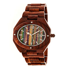 Earth Wood Unisex Red Strap Watch-Ethew4003
