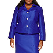 R & K Originals Long Sleeve Button Front Skirt Suit Set-Plus
