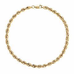 14K Yellow Gold 1.3mm Rope Chain Bracelet