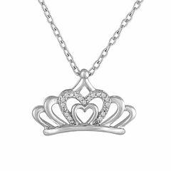 Womens White Diamond Accent Pendant Necklace