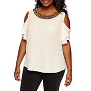 by&by Short Sleeve Round Neck Crepe Blouse-Juniors Plus