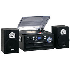 Jensen JTA-475B 3-Speed Stereo Turntable with CD, AM/FM Stereo Radio, Cassette and Remote
