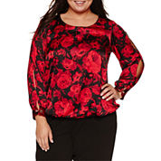Alyx Long Split Sleeve Floral Blouse-Plus