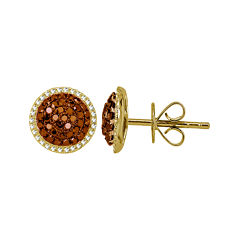 LIMITED QUANTITIES 5/8 CT. T.W. White and Color-Enhanced Cognac Diamond Stud Earrings