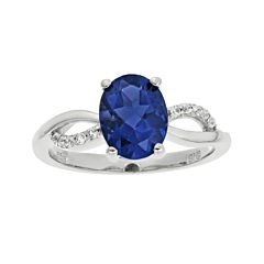 Lab-Created Sapphire and 1/10 CT. T.W. Diamond Sterling Silver Ring