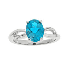 1/10 CT. T.W. Diamond and Genuine Topaz Sterling Silver Ring