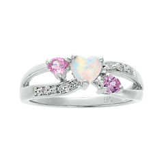Lab-Created Opal and Pink Sapphire Sterling Silver Triple-Heart Ring