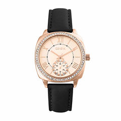 Geneva Womens Black Strap Watch-Pt2517rgbk