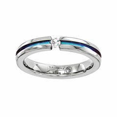 Edward Mirell Mens White Sapphire Titanium Wedding Band