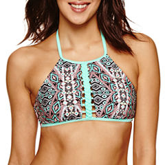 Ibiza Solid High Neck Swimsuit Top-Juniors