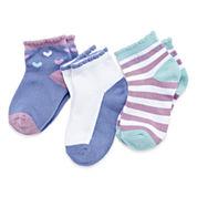 Cuddl Duds® 3-Pk. Toddler Heart Low Cut Socks