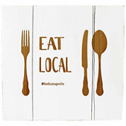 Cathy's Concepts Personalized Eat Local White Rustic Wooden Wall Art