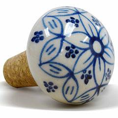 Epicureanist Blue And White Floral Ceramic Wine Bottle Topper
