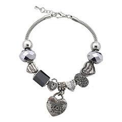 Dazzling Designs™ Silver-Plated Black Artisan Glass Bead Heart Charm Bracelet