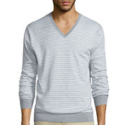 Claiborne® Long-Sleeve Thermolite Striped V-Neck Sweater