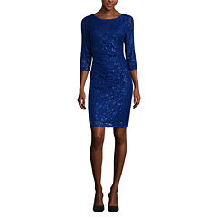 Scarlett 3/4-Sleeve Sparkle Lace Sheath Dress