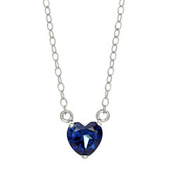 Lab-Created Sapphire Sterling Silver Heart Pendant Necklace