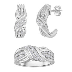 1/10 CT. T.W. Diamond Swirl Earring and Ring Set