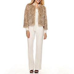 Worthington® Cropped Faux-Fur Jacket, Tie-Neck Blouse or Flare-Leg Pants