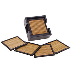 Thirstystone® Natural Bamboo & Faux Leather Set of 6 Coasters