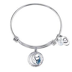 Footnotes Womens Blue Crystal Silver Over Brass Bangle Bracelet
