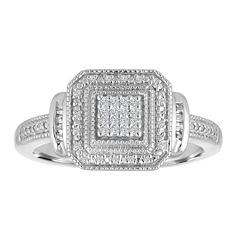Womens 1/10 CT. T.W. White Diamond Sterling Silver Cocktail Ring
