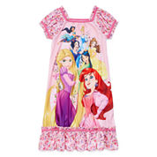 Disney Girls Short Sleeve Disney Princess Nightshirt-Big Kid