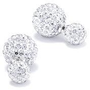 Silver Treasures Round Crystal Sterling Silver Stud Earrings