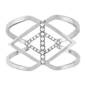 nicole by nicole by Nicole Miller® Pavé Crystal Hinged Silver-Tone Cuff Bracelet